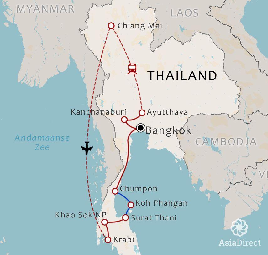 Routekaart 20-daagse rondreis Best of Thailand