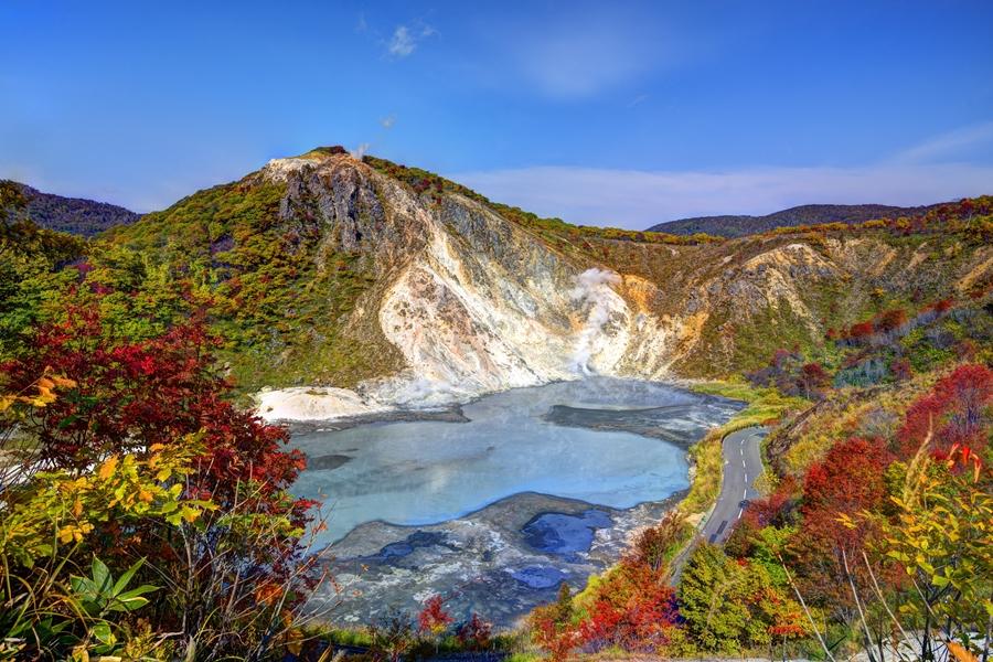Japan Hokkaido Lake Oyunuma in Noboribetsu meer