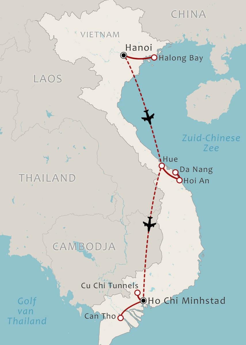 Routekaart 14 Daagse romantische rondreis Vietnam