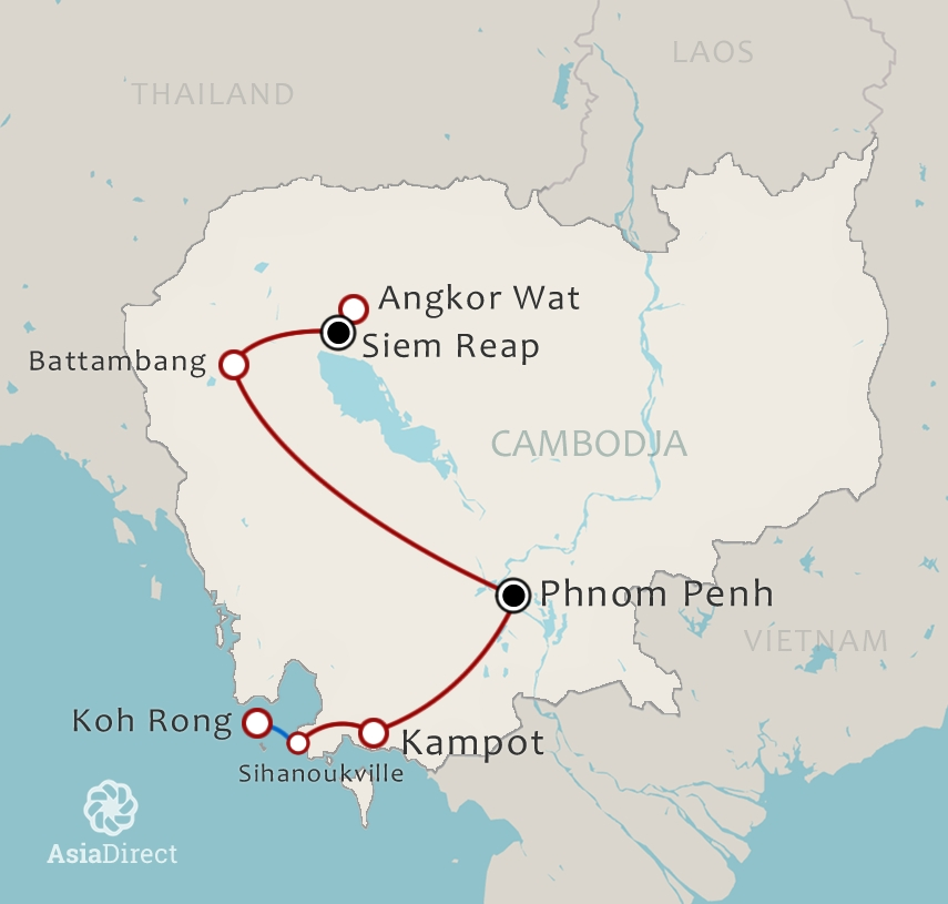 Routekaart 17 daagse rondreis Cambodja compleet