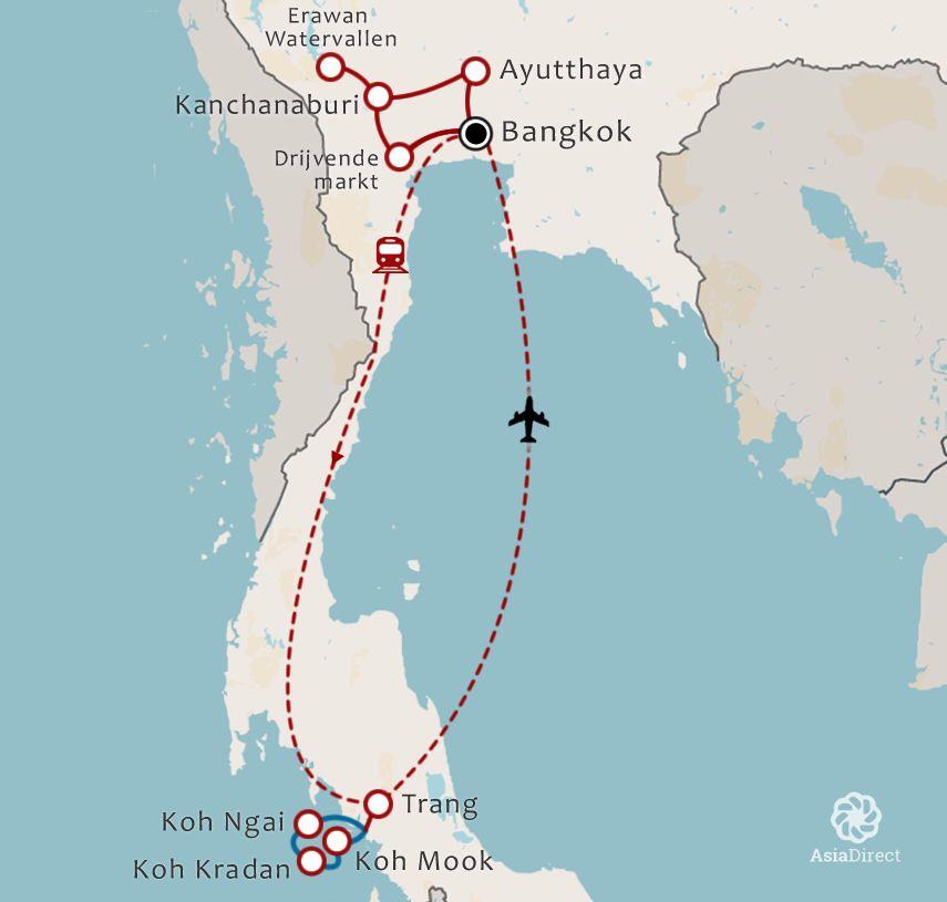 Routekaart 17 daagse rondreis hartstochtelijk Thailand