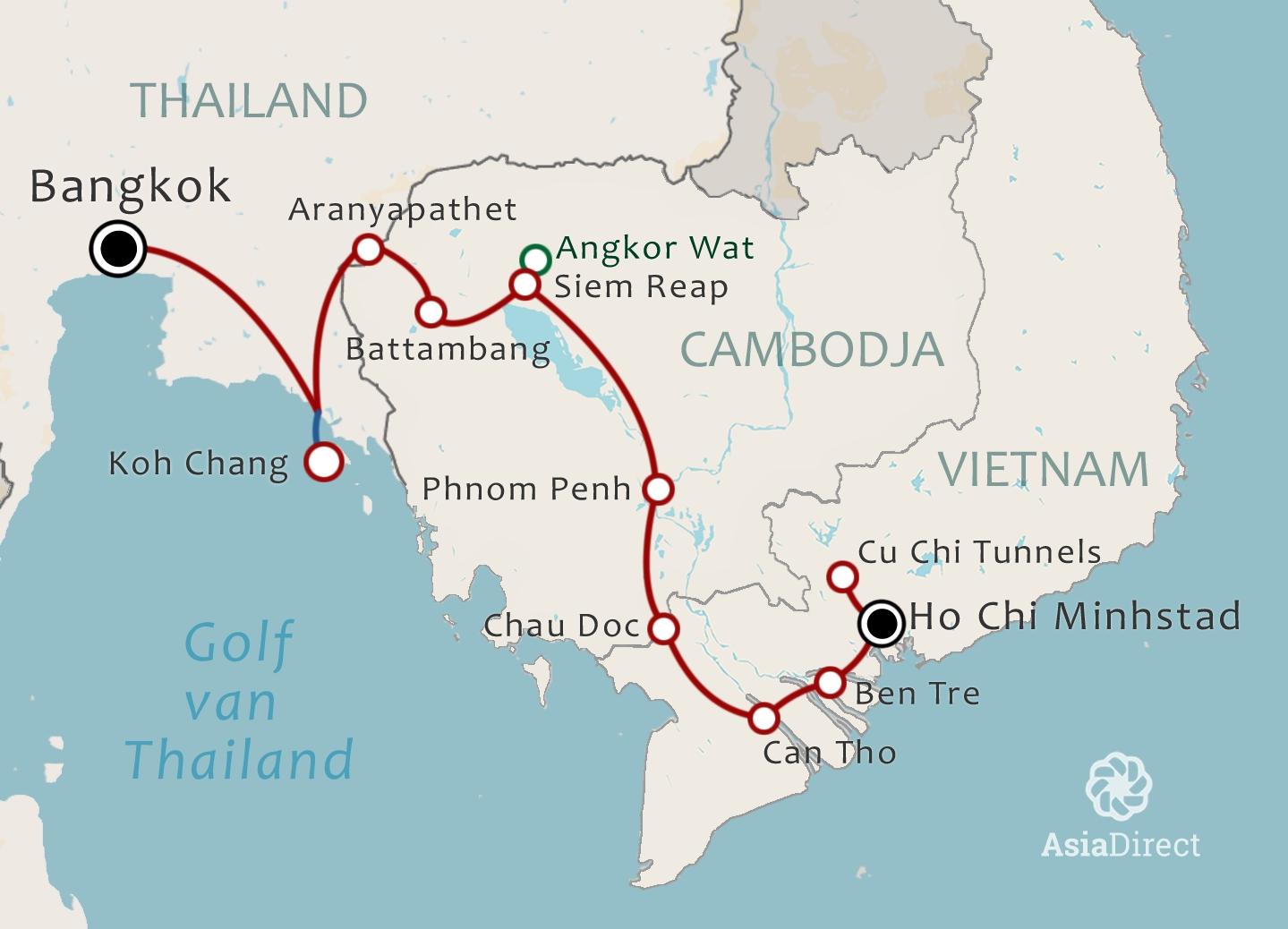 Routekaart 20 daagse combinatiereis Vietnam Cambodja en Thailand