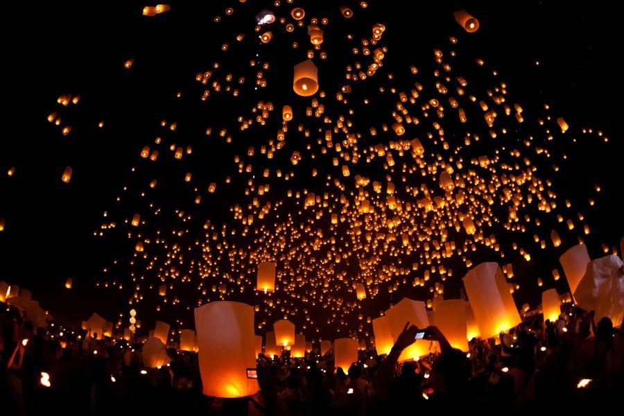 Thailad Chiang Mai Loi Krathong lantaarns
