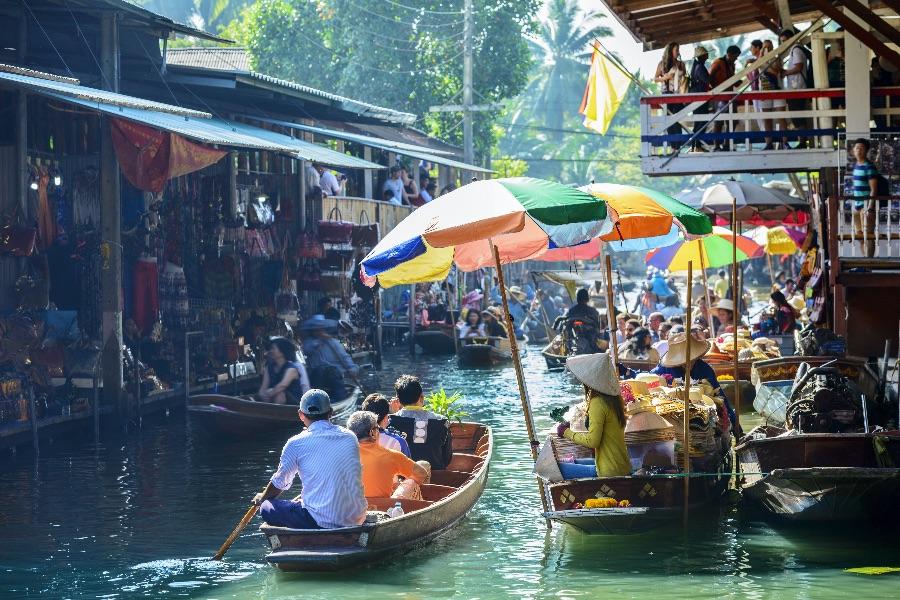 Thailand Bangkok drijvende markt