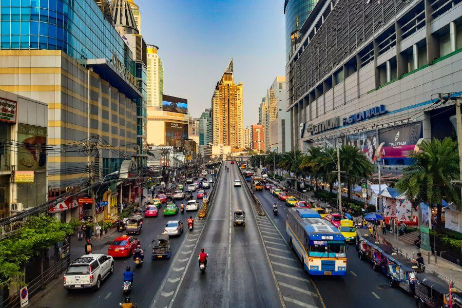 Thailand Bangkok verkeer in Pratunam