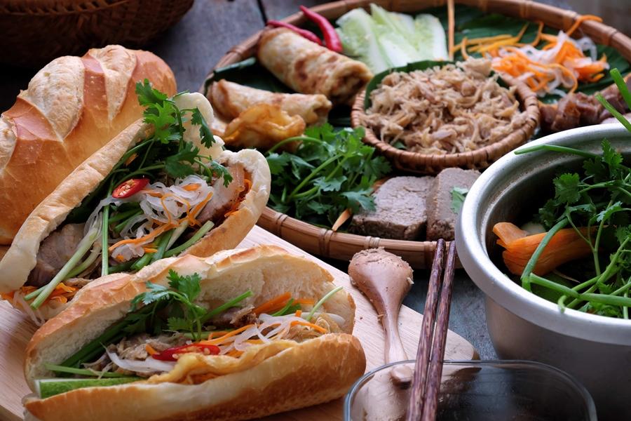 Vietnam eten Banh Mi baguette sandwich