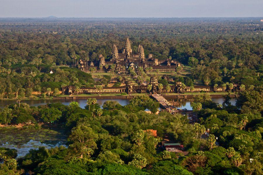 Cambodja Siem Reap Angkor Wat tempels uitzicht van boven