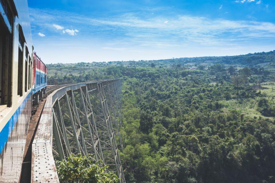 Myanmar Hsipaw Goktheik viaduct on the railway line Mandalay