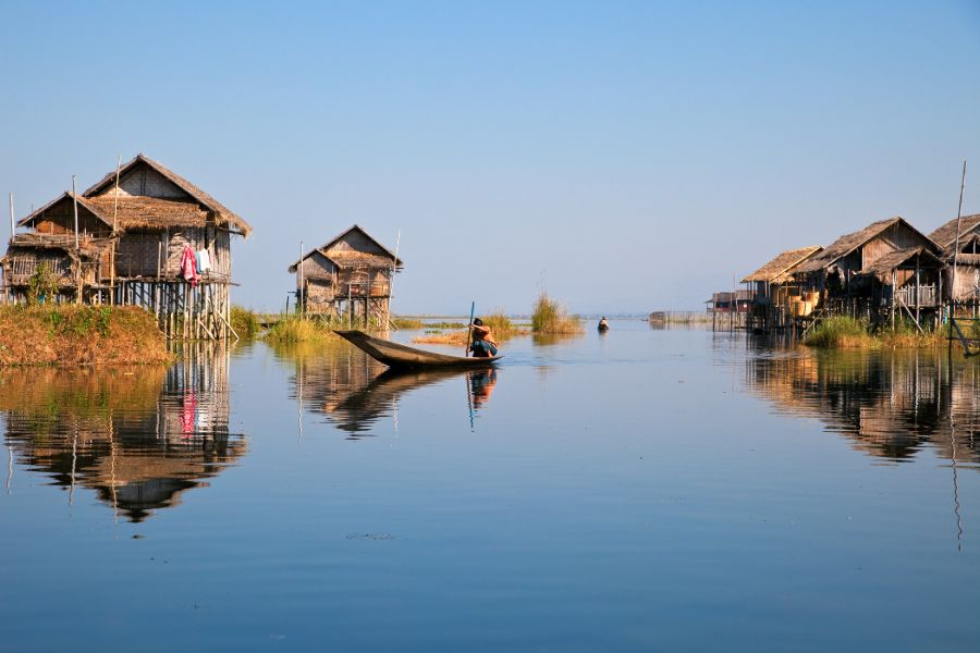 Myanmar Inle Lake floating village