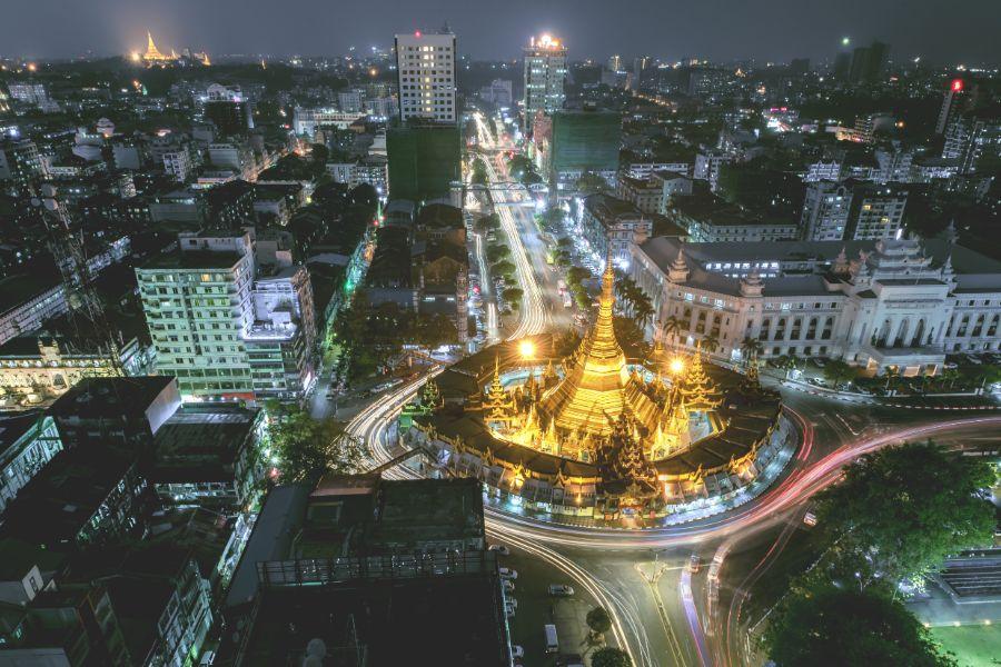 Myanmar Yangon avond