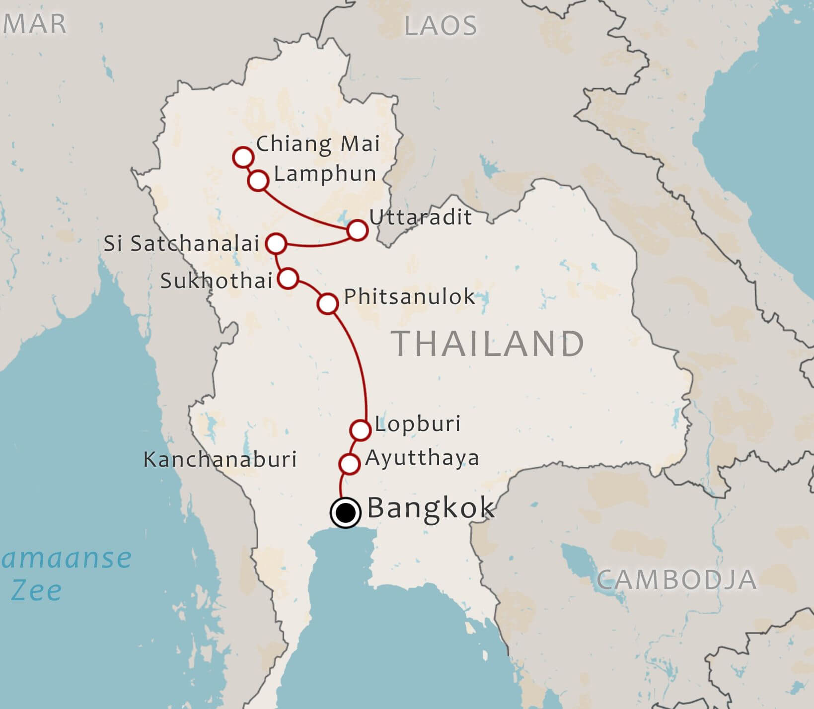 Routekaart 11 daagse fietstour Bangkok Chiang Mai