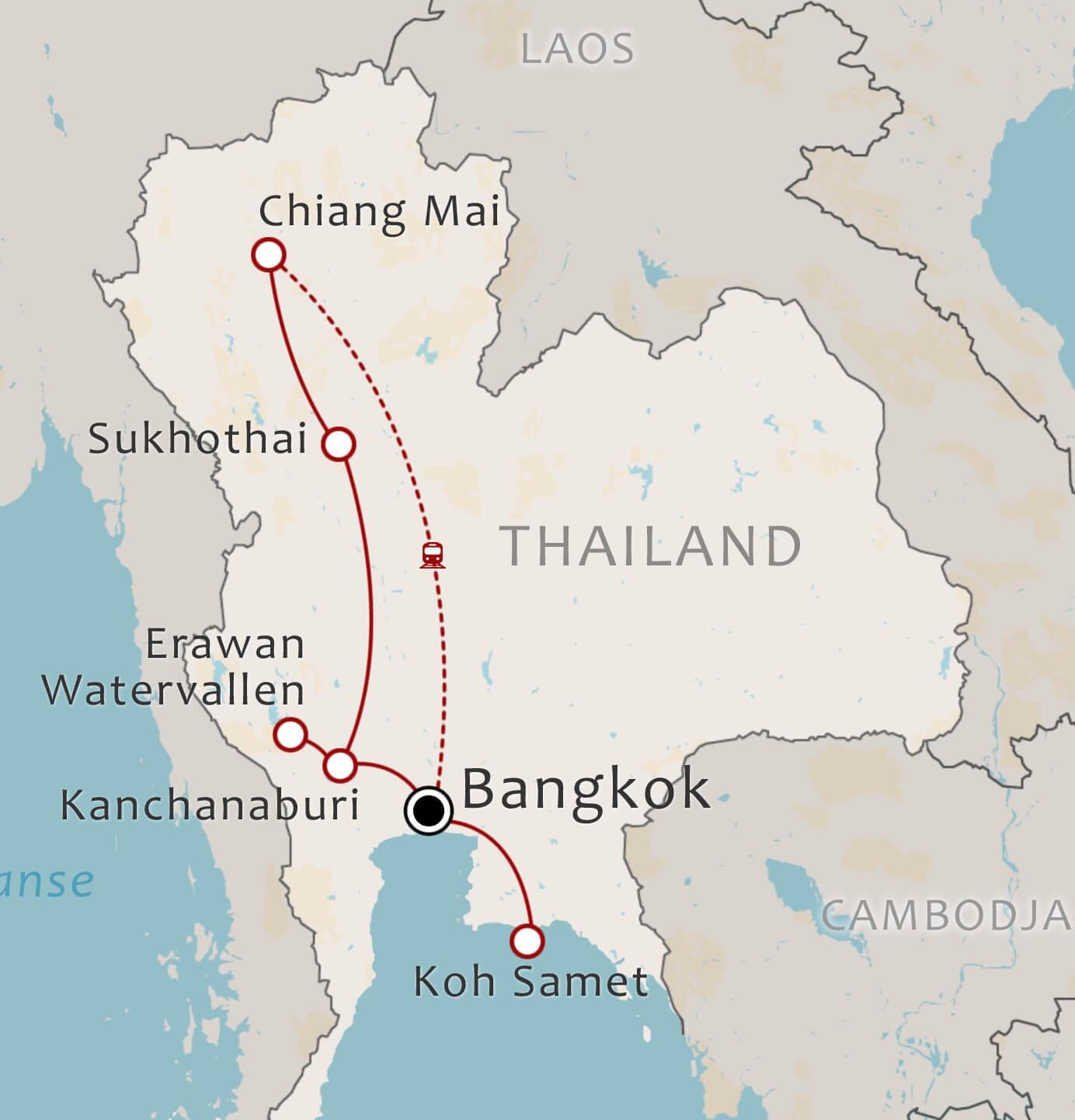 Routekaart 16 daagse familiereis Centraal en Noord Thaild