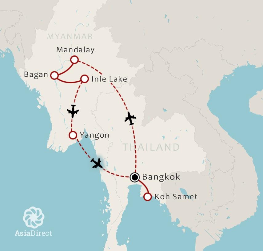 Routekaart 18 Daagse combinatiereis Thailand en Myanmar