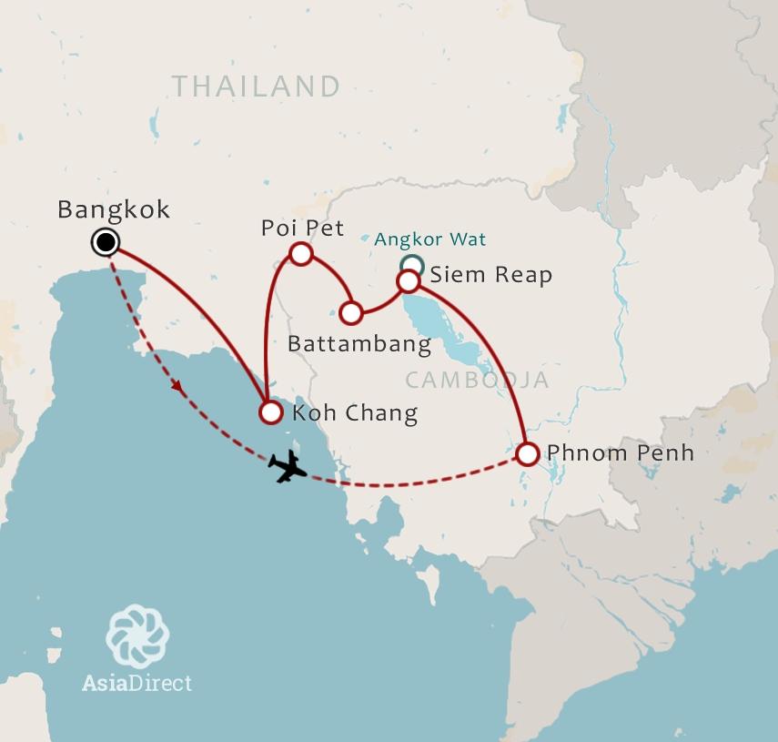 Routekaart 18 daagse combinatiereis Thailand en Cambodja