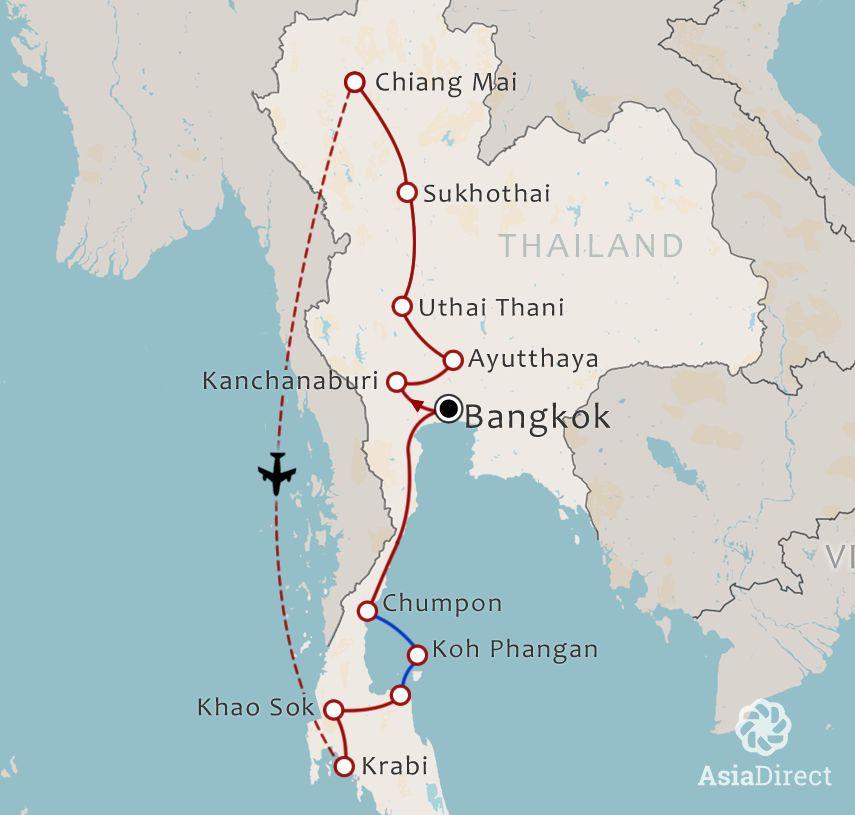 Routekaart 21 Daagse Rondreis met chauffeur écht Thailand