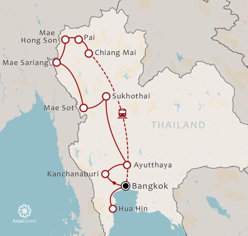 Routekaart 21 Daagse rondreis met chauffeur Noord Thailand via Pai