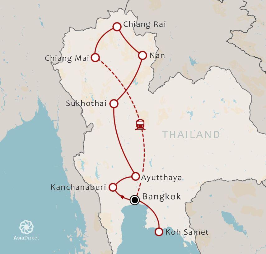 Routekaart 21 daagse rondreis met chauffeur Noord Thailand via Nan