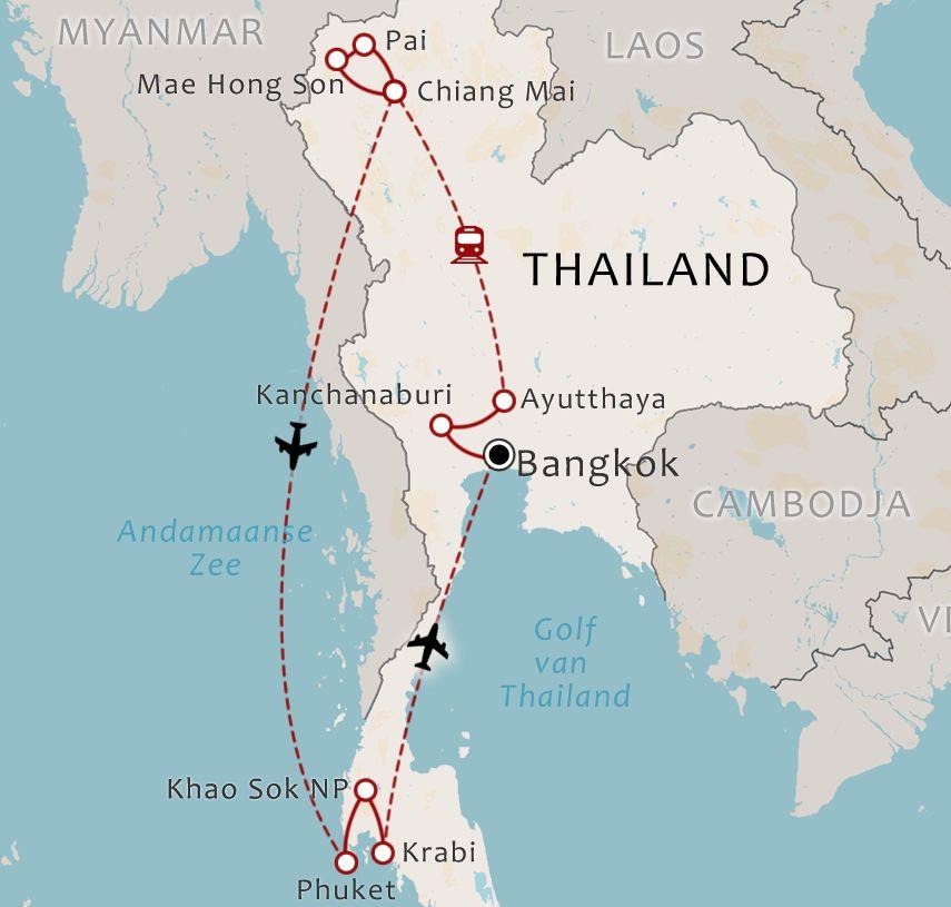 Routekaart - 22 daagse rondreis dwars door Thailand
