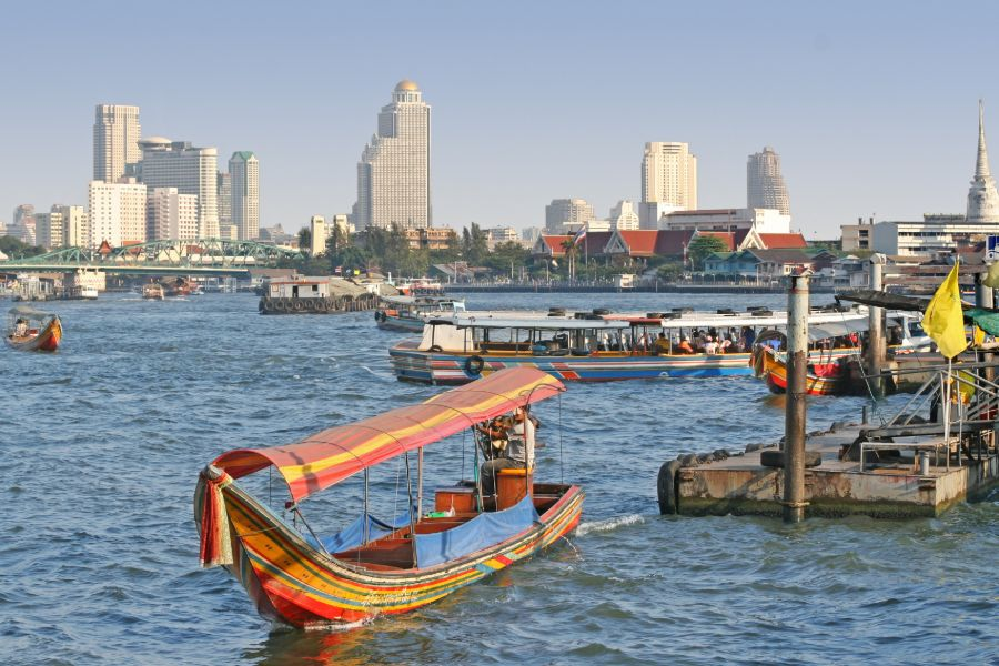 Thailand Bangkok Chao Praya river long tail boat