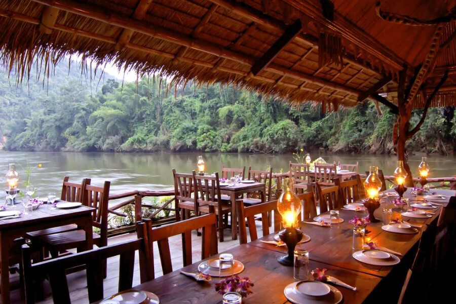 Thailand Kanchanaburi River Kwai Jungle Rafts Hotel