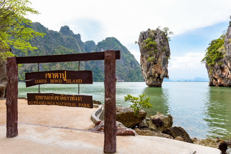 Thailand Khao Tapu James Bond Island in Ao Phang Nga Bay National Park Nameplate attractions viewpoint at beach