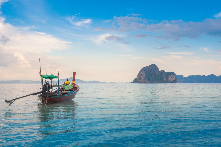 Thailand Koh Ngai Trang province longtail boat beautiful sea