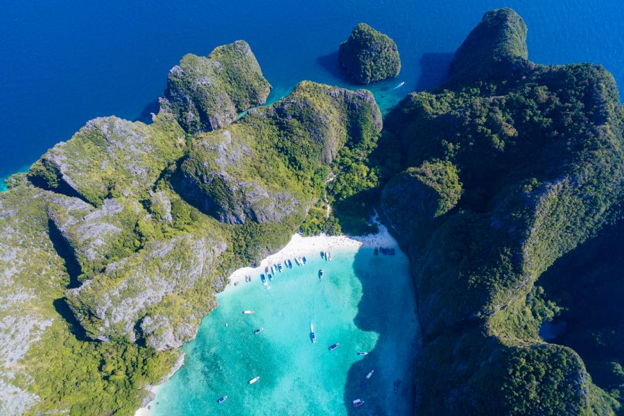 Thailand Koh Phi Phi Aerial view of Maya bay white beach and blue clear water 1