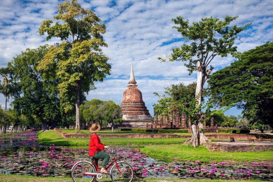 Thailand Sukhothai Wat Mahatat per fiets