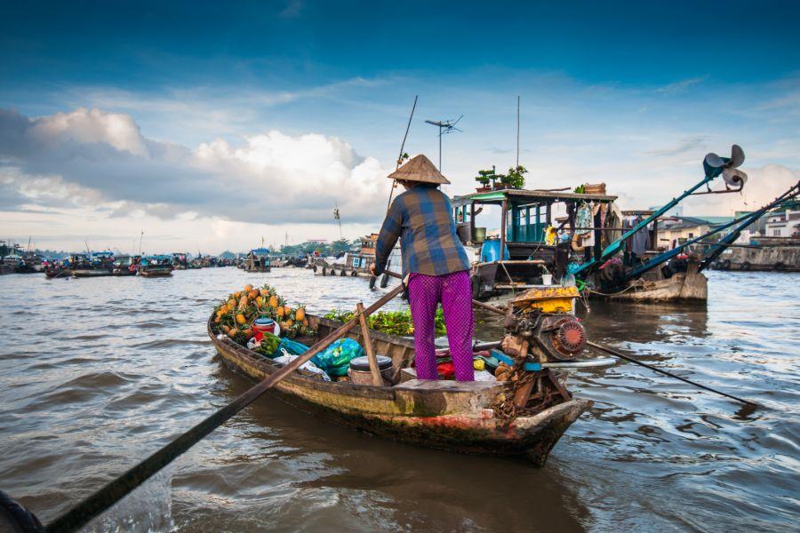 Vietnam Can Tho Cai Rang drijvende markt mevrouw op boot