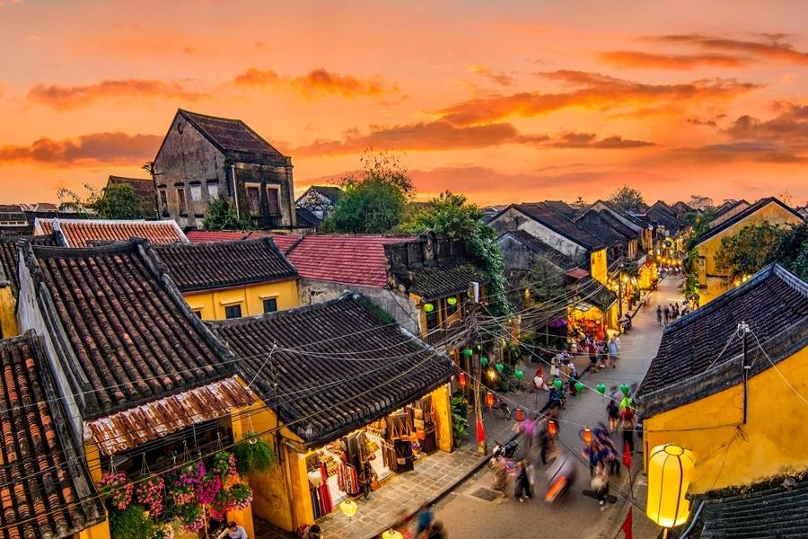 Vietnam Hoi An bovenaanzicht straat