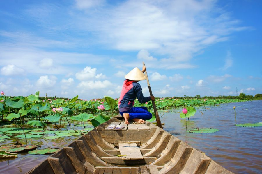 Vietnam Mekong Delta asian woman in longtail boat lotus bloem rivier