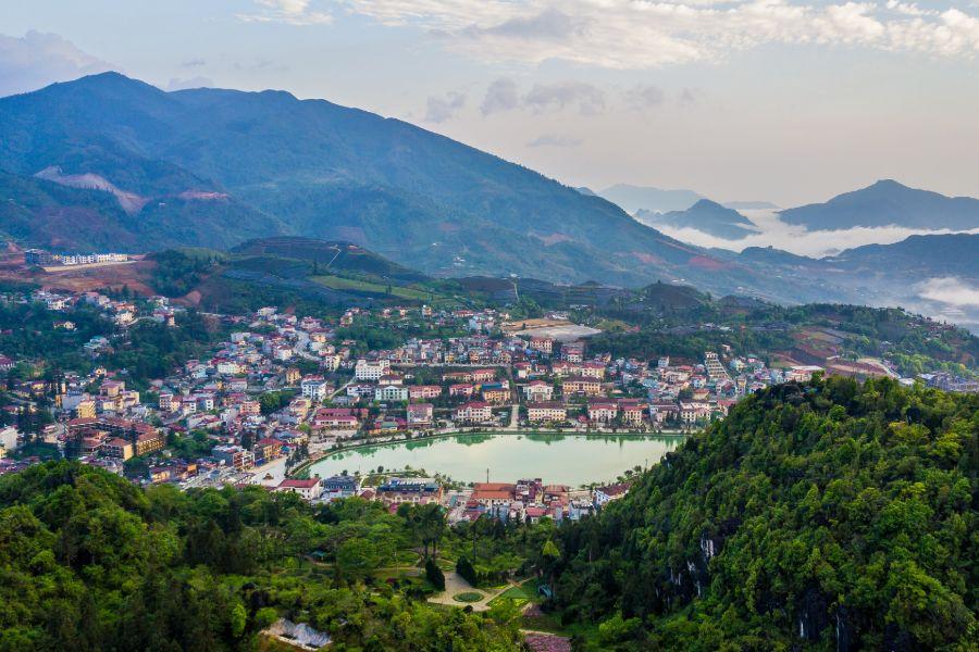 Vietnam Sapa uitzicht op Mount Hamrong Lao Cai
