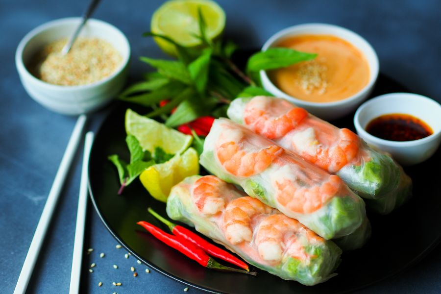 Vietnamese food fresh summer rolls with shrimp and vetgetables