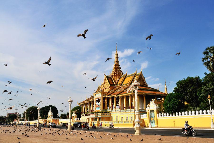 Cambodja Phnom Penh Paleis Vogels