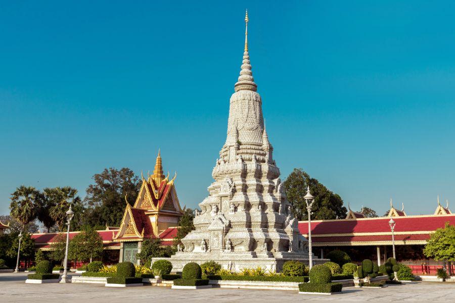 Cambodja Phnom Penh koninklijk paleis en zilveren pagode