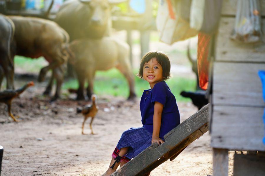 Cambodja farm plattelandse leven inwoner meisje