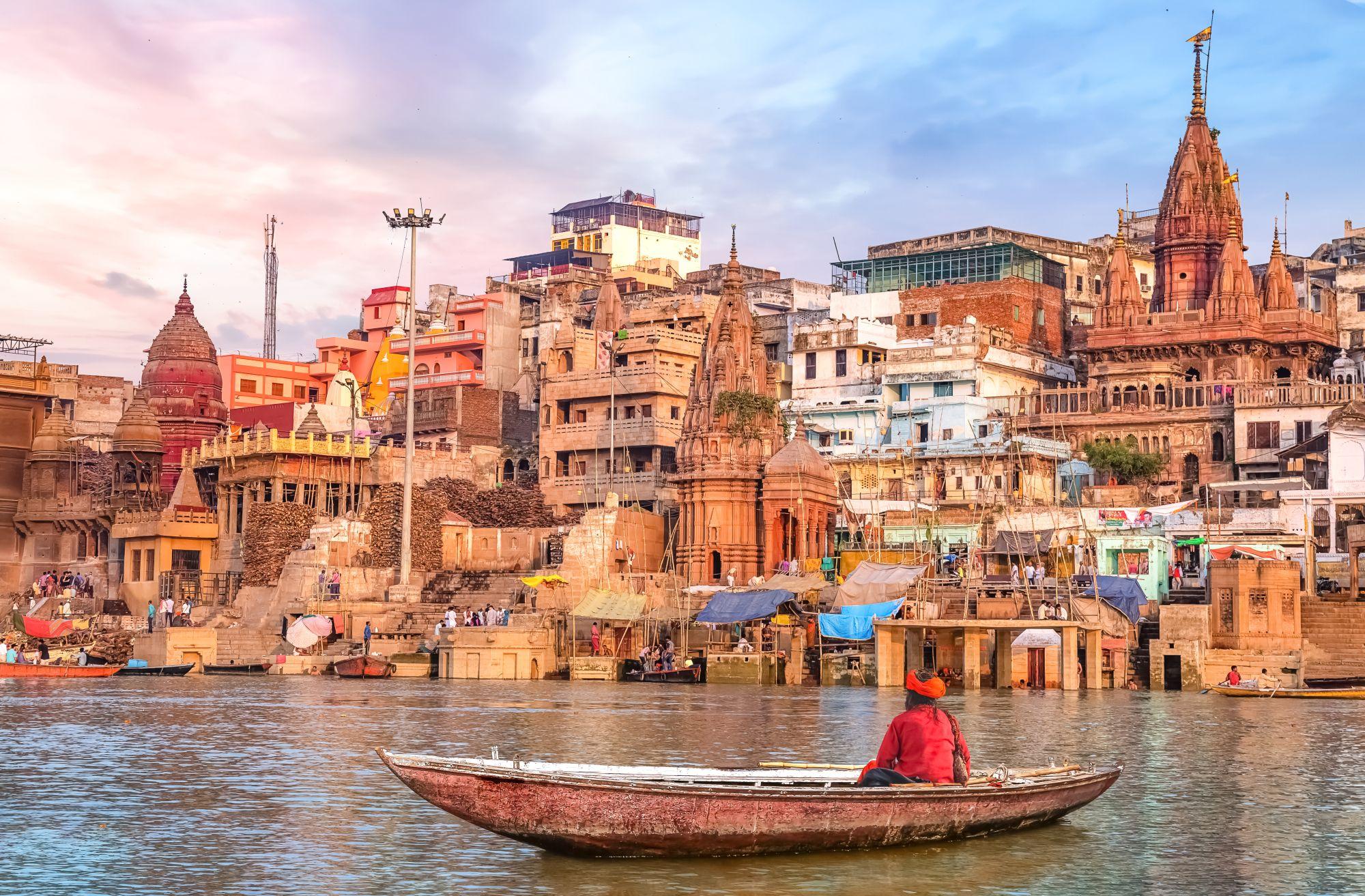 India Varanasi city Ganges met boot