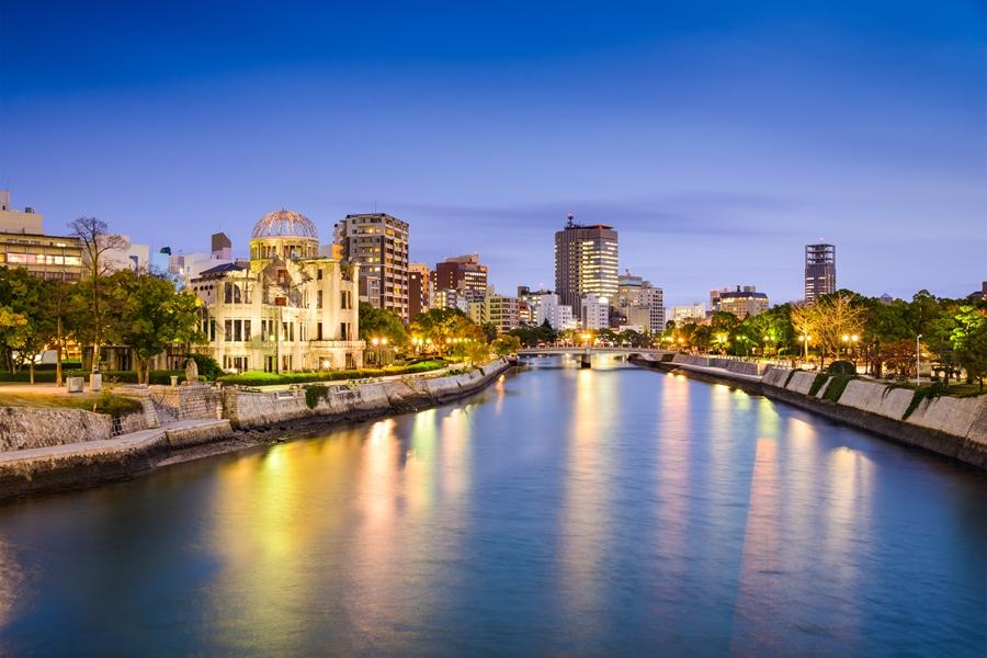 Japan Hiroshima Rivier door de stad