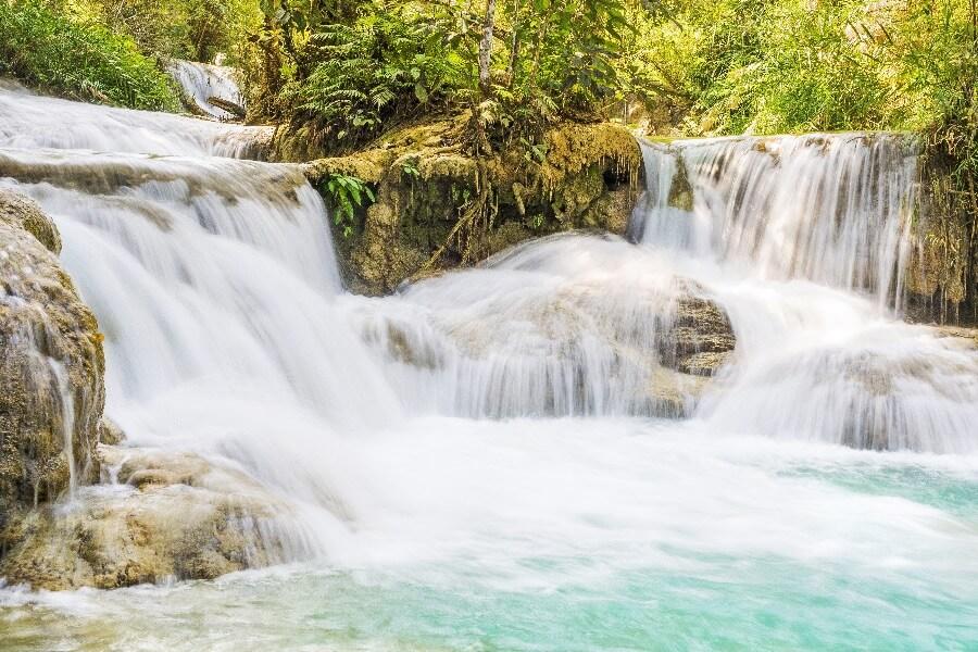 Laos Luang Prabang Kuang Si Watervallen
