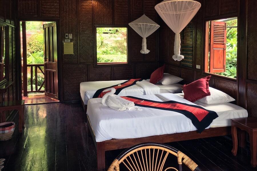 Laos Luang Prabang Shompoo Cruise Houay Xay slaapkamer