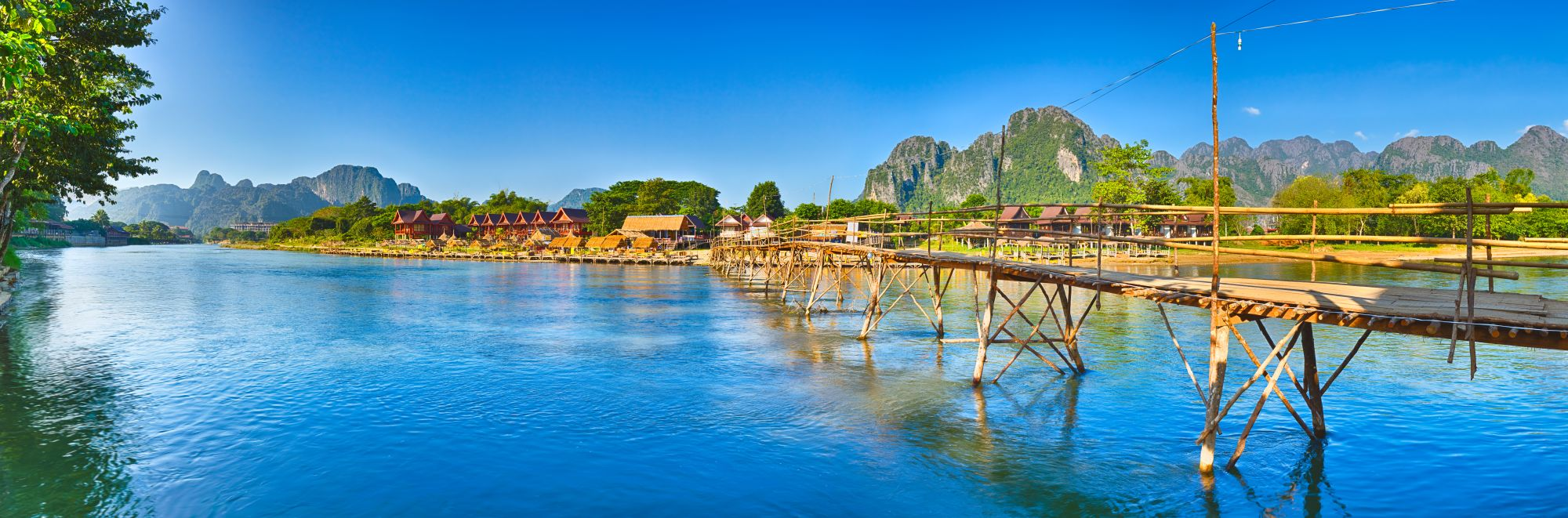 Laos Vang Vieng Bamboo brug