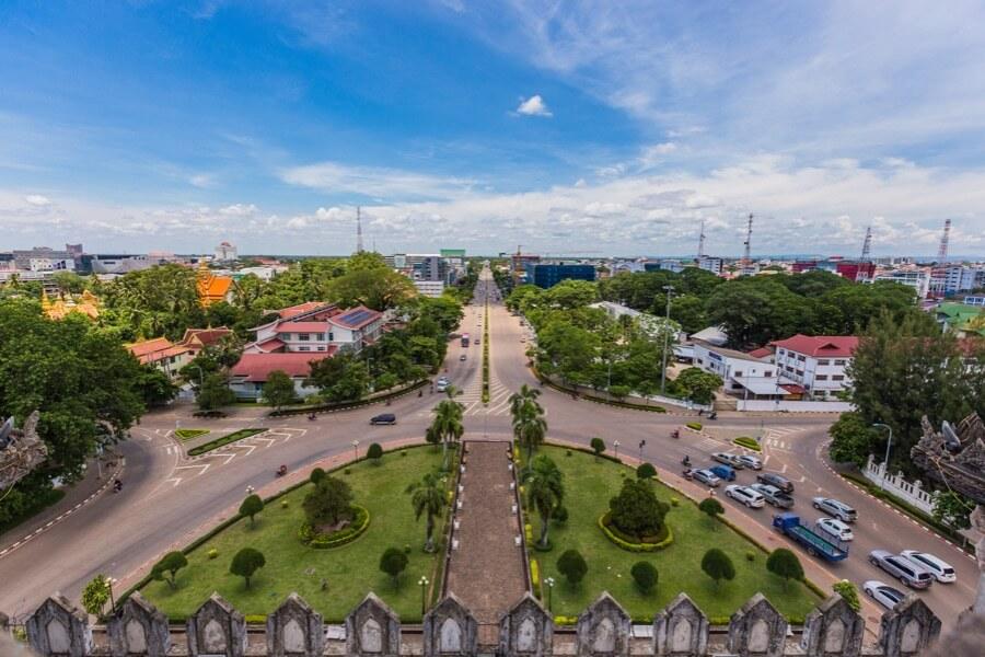 Laos Vientiane Uitizicht vanaf Patuxai