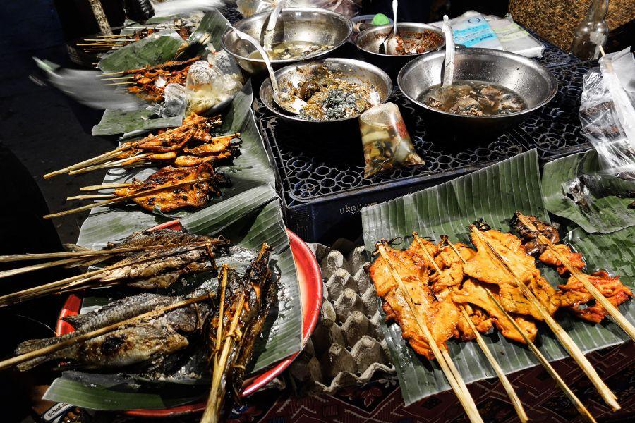 Laos barbecue bbq met vlees en vis