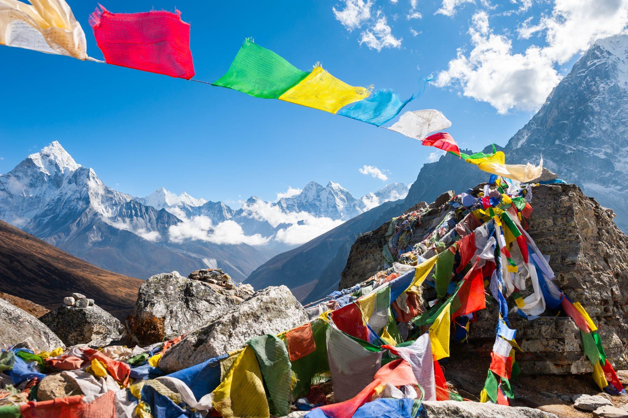 Nepal Himalayas Base Camp Mount Everest gebedsvlaggetjes