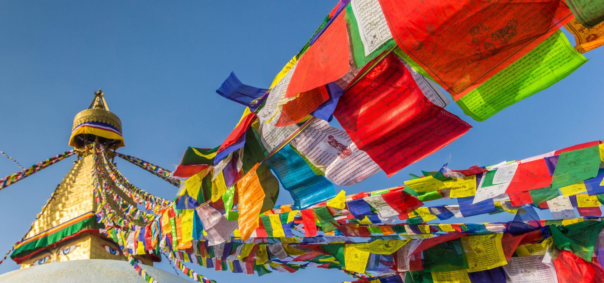 Nepal Kathmandu gebedsvlaggetjes