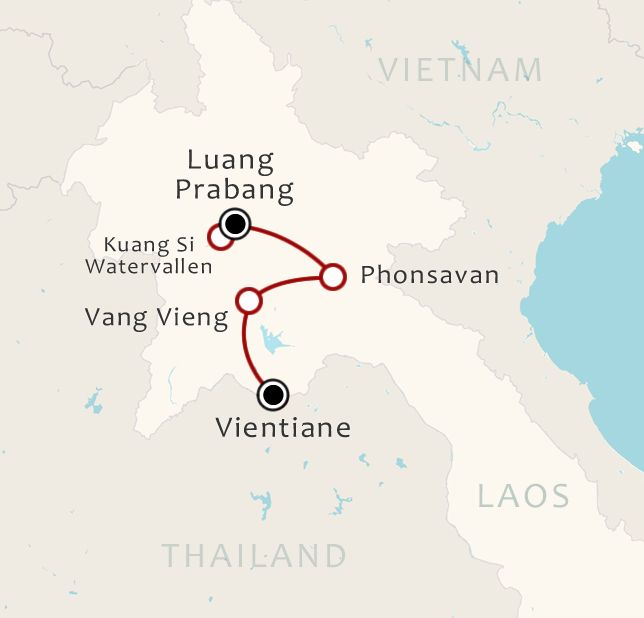 Routekaart 10 Daagse rondreis Hart van Laos