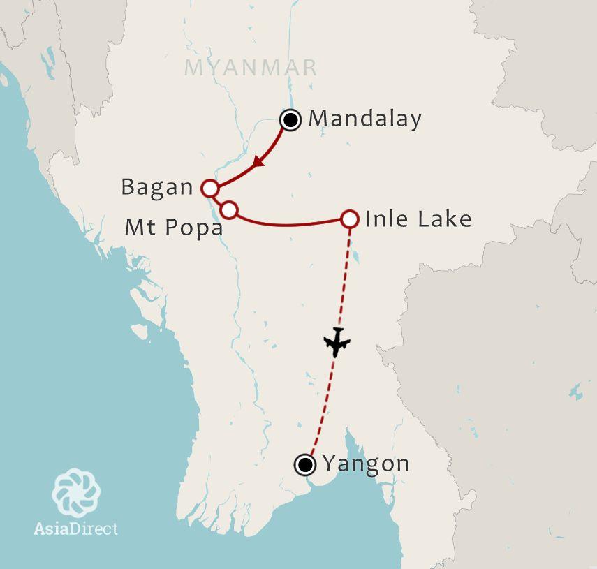 Routekaart 10 Daagse rondreis Het hart van Myanmar