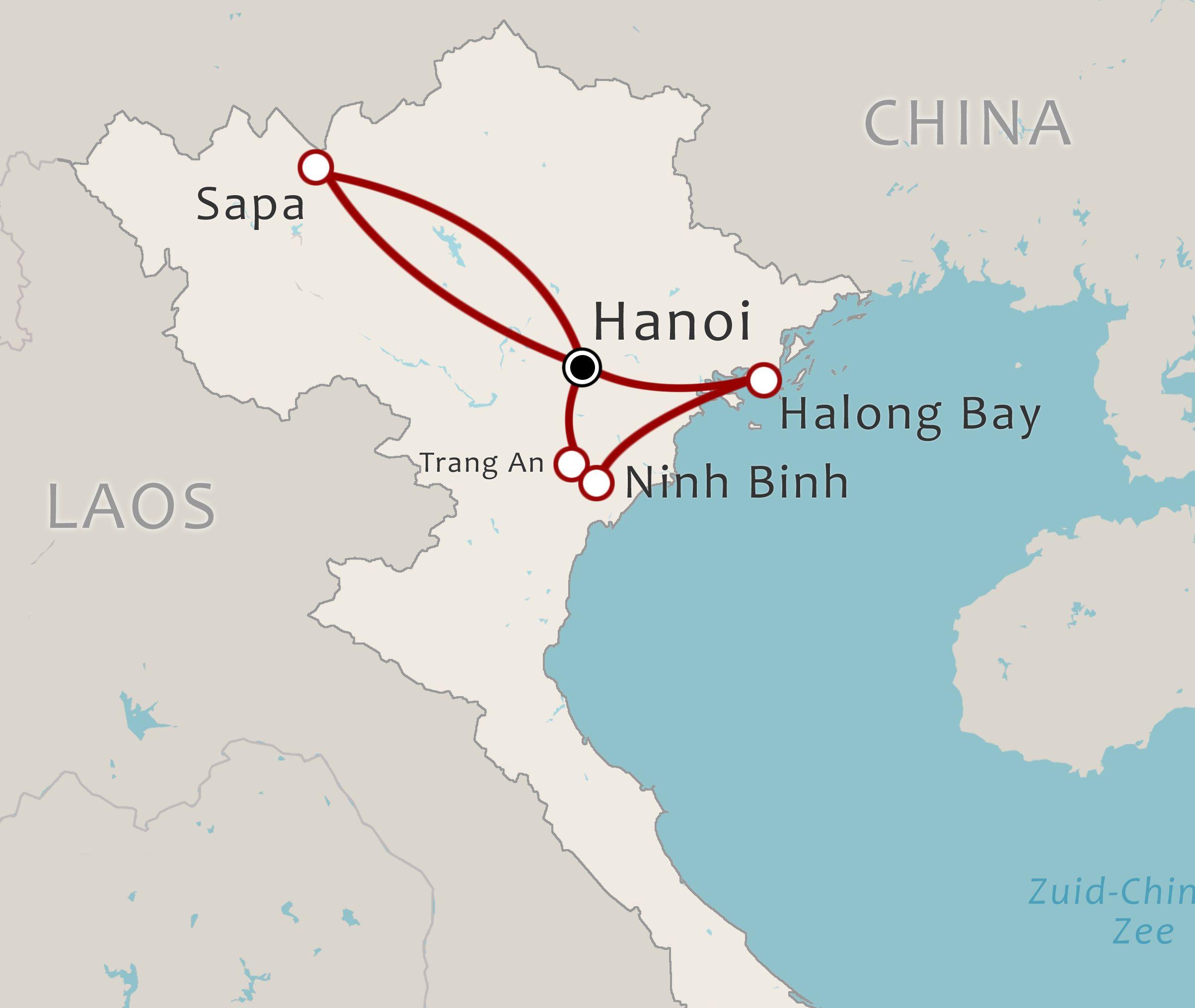 Routekaart 10 Daagse rondreis Noord Vietnam