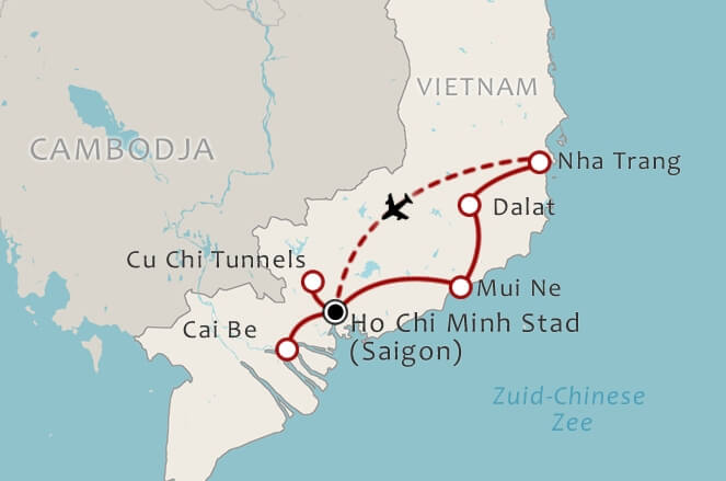 Routekaart 10 Daagse rondreis Zuid Vietnam