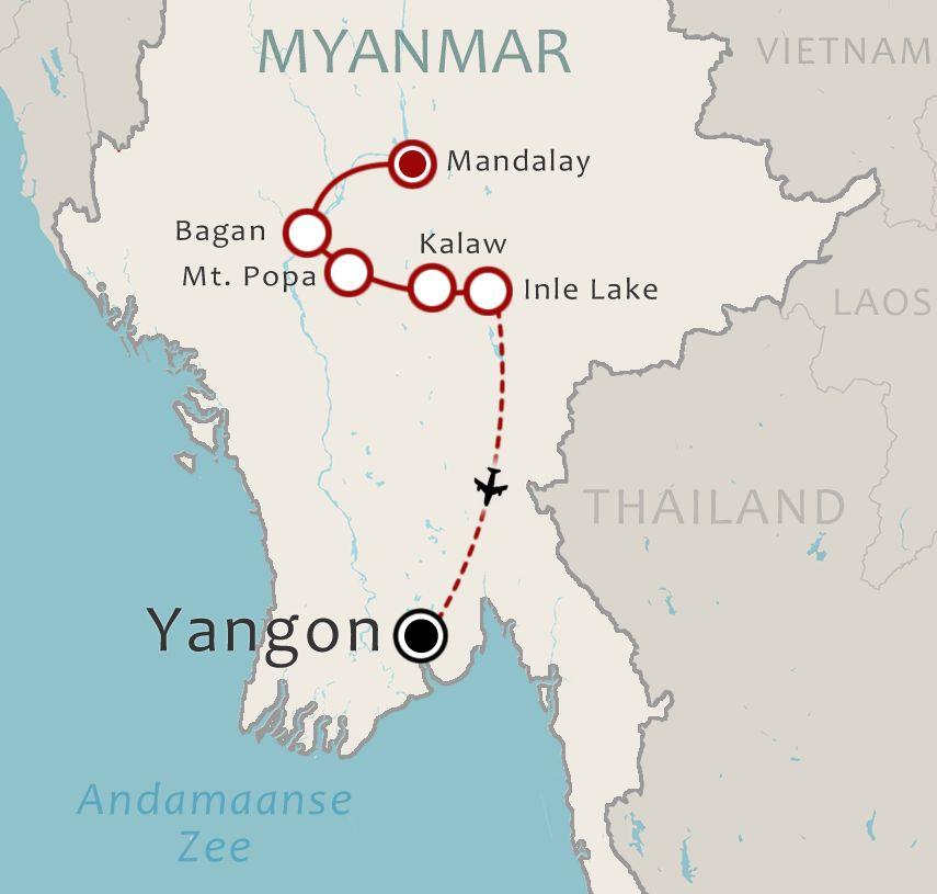 Routekaart 13 Daagse familiereis Myanmar